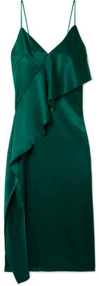 Cushnie - Draped Silk-satin Dress - Forest green