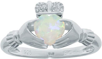 JCPenney FINE JEWELRY Heart-Shaped Lab-Created Opal and Diamond-Accent Sterling Silver Claddagh Ring