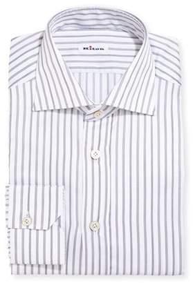 Kiton Multi-Stripe Cotton Dress Shirt, Gray