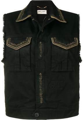 Saint Laurent embroidered denim vest
