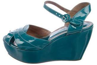 Marni Patent Leather Platform Wedge Sandals