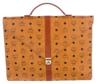 MCM Vintage Leather-Trimmed Briefcase