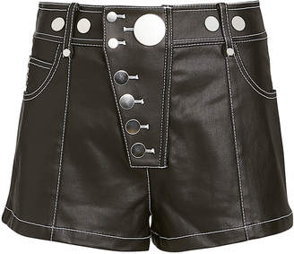 Alexander Wang Snap Detail Coated Twill Shorts