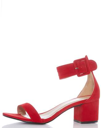 Quiz Red Low Block Heel Buckle Sandals