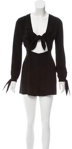 Intermix Tie-Accented Long Sleeve Romper