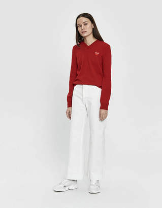 Comme des Garcons Play Red Heart V-Neck Pullover in Red