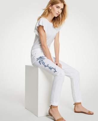 Ann Taylor Petite Embroidered Floral Girlfriend Jeans