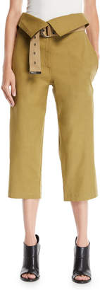 Sea Kinney Belted Collapsed-Waist Wide-Leg Cotton-Linen Pants
