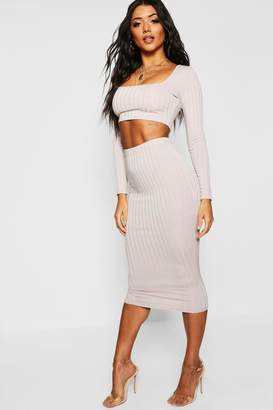 boohoo Ribbed High Waist Fitted Midaxi Skirt