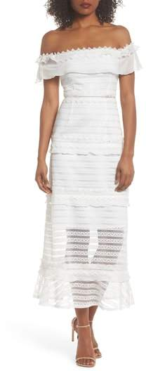 Lucy Off the Shoulder Stripe Lace Dress
