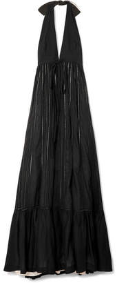 Kalita - Rooftop Runaway Lattice-trimmed Cotton-voile Halterneck Maxi Dress - Black