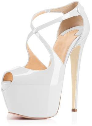 2b18b5cfe91 Joogo Open Toe Platform Stilettos Ankle Corss Strap Buckle Snap High Heels  Wedding Pumps Size 6