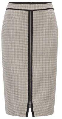 BOSS Hugo Pencil skirt in checked stretch fabric front zipper 0 Patterned