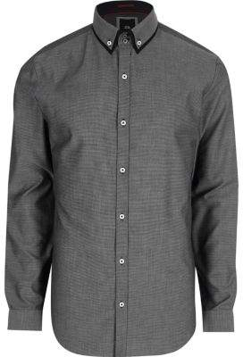 River Island Big and Tall grey double collar shirt