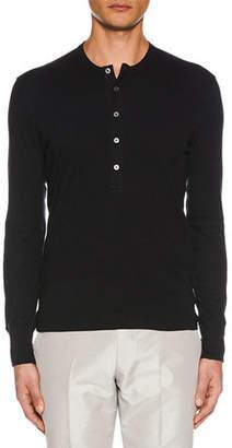 Tom Ford Men's Button-Placket Long-Sleeve Cotton Henley Shirt
