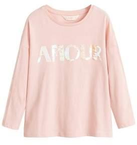 MANGO Reversible sequins message t-shirt