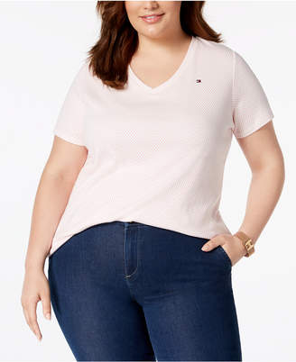 Tommy Hilfiger Plus Size Polka Dot Cotton V-Neck T-Shirt, Created for Macy's
