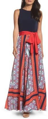 Women's Eliza J Jersey & Crepe De Chine Maxi Dress $158 thestylecure.com