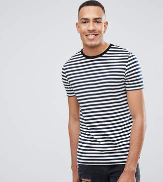 Asos Design DESIGN Tall stripe t-shirt in navy and white