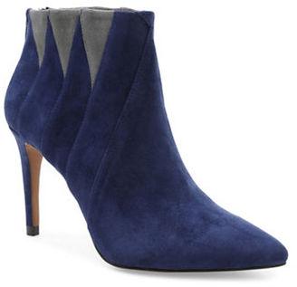 Kensie Tarquin Triangular Block Suede Dress Booties $119 thestylecure.com
