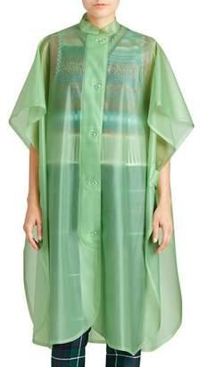 Burberry Mandarin-Collar Button-Front Poncho, Light Green
