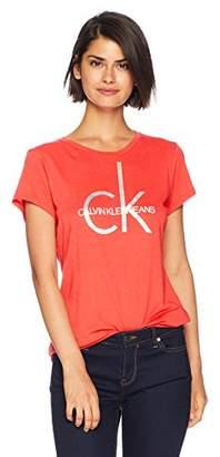 Calvin Klein Jeans Women's Short Sleeve Brushstroke Foil Logo T-Shirt