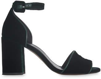Whistles Green Hedda Velvet Heel Sandal
