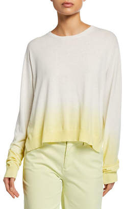 ATM Anthony Thomas Melillo Dip-Dye Ombre Crewneck Long-Sleeve Boxy Sweater
