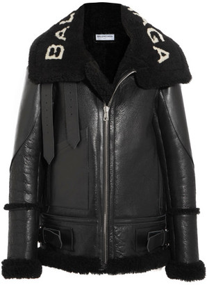 Balenciaga - Le Bombardier Oversized Shearling Jacket - Black