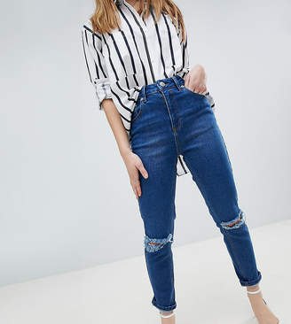 Asos DESIGN Petite Farleigh High Waist Slim Mom Jeans In Bonnie Wash With Super Wide Busted Knee