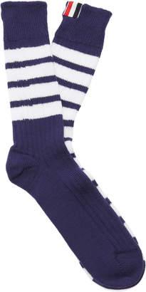 Thom Browne Striped Mid-Calf Cotton Socks