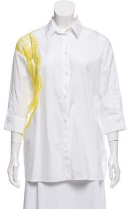 No.21 No. 21 Lace- Accented Button- Up Top w/ Tags