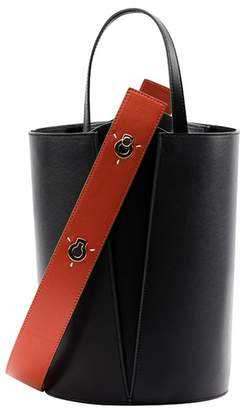 Lente Danse Mini Lorna Bucket Bag In Black Orange Leather