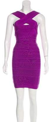 Herve Leger Mini Bandage Dress Purple Mini Bandage Dress