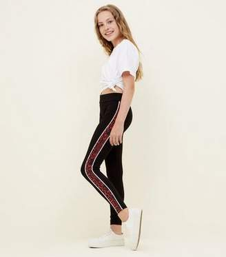 New Look Teens Black Faux Snakeskin Side Panel Leggings