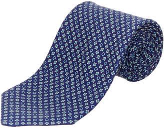 Salvatore Ferragamo Navy & Blue Gancio Silk Tie