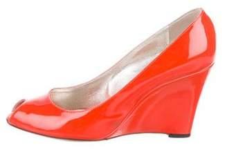 Dolce & Gabbana Patent Leather Peep-Toe Wedges