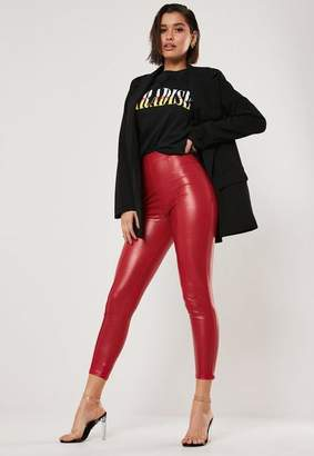 Missguided Red Faux Leather Seam Detail Leggings
