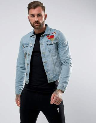 Rose London Denim Jacket With Floral Embroidery