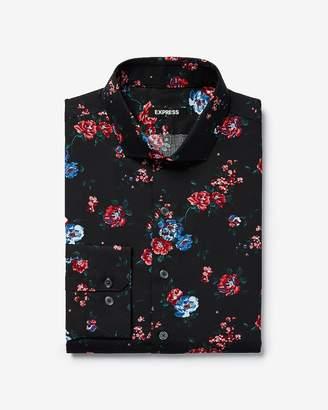 Express Slim Floral Print Dress Shirt