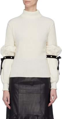 Philosophy di Lorenzo Serafini Faux pearl ribbon tie balloon sleeve sweater