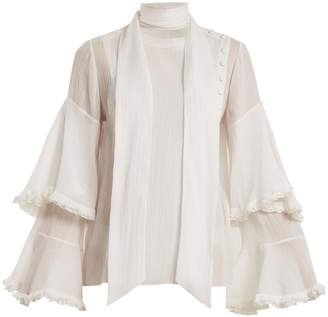 Chloé Bell-sleeved tie-neck cotton-blend gauze blouse