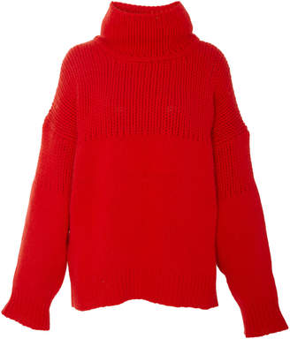 Jil Sander Cable-Knit Wool And Angora-Blend Turtleneck Sweater