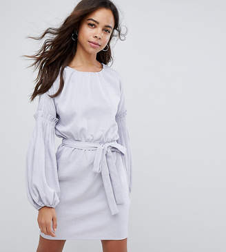 Lost Ink Petite Tie Waist Dress With Extreme Sleeve