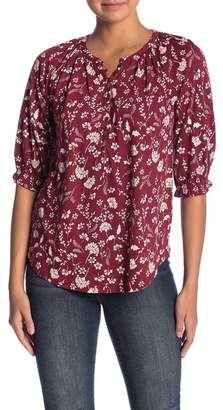 Lucky Brand Floral Henley 3/4 Sleeve Blouse