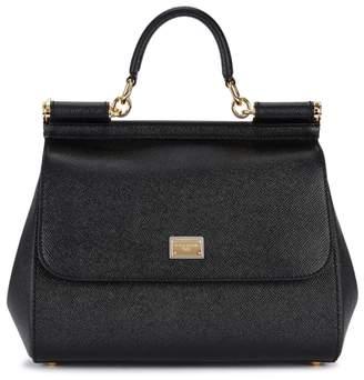 Dolce & Gabbana Sicily Medium Black Leather Tote
