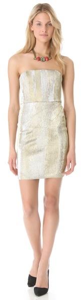 Alice + Olivia Bowen Metallic Strapless Dress
