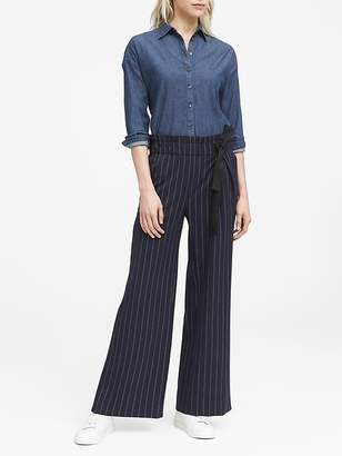 Banana Republic JAPAN ONLINE EXCLUSIVE Blake Wide Leg-Fit Pinstripe Paper-Bag Waist Pant