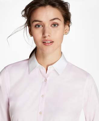 Brooks Brothers Non-Iron Contrast-Collar Cotton Twill Fitted Shirt
