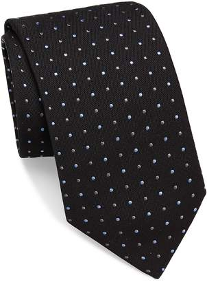 Brioni Men's Raw-Silk Dotted Tie